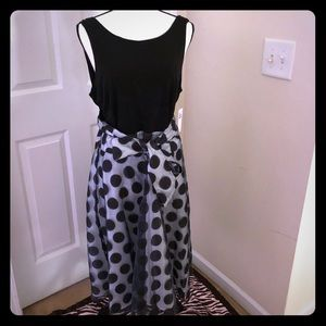 Black and White Polka Dot Fit and Flare Dress
